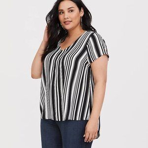 Torrid Black & White Striped Georgette Blouse, 5X